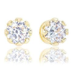 18k Yellow Gold Plated Cubic Zirconia Crown Solitaire Stud Earrings (3.50 carats)