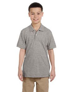 Harriton Youth 5.6 oz. Easy Blend™ Polo M265Y GREY HEATHER