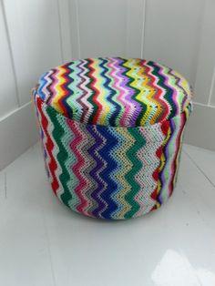 Repurposed vinyl ottoman with vintage crochet blankets | Cuckoonest