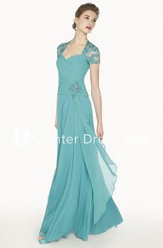 1c3dc4b09 Queen Anne A-Line Chiffon Long Prom Dress With Appliques And Illusion Back