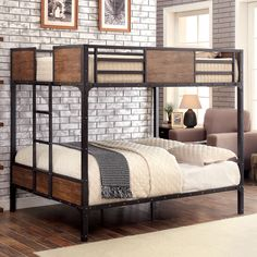 An industrial piece in both design and function, this bunk bed features a beautiful blend of metal and wood. The sturdy framework ensures a long-lasting structure while wood panel inserts add a rustic touch.