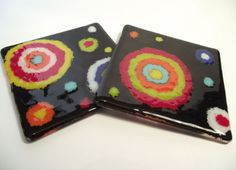 fused glass -  fine frits lines/circles with paper funnel