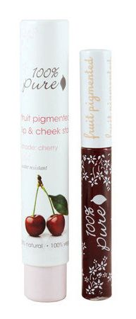 """100% Pure – Fruit Pigmented Lip & Cheek Stain (""""LOVE this product! It has a similar effect to Benefit's (non-vegan) cheek stain, but it's coloured from fruit and vegetable pigments and like most products in the 100% Pure range, it's vegan and gluten free. I love the rosy pink tint it gives my cheeks, which lasts for hours (if not all day). And it stains your lips with a beautiful colour, as though you've just eaten a cherry-flavoured popsicle."""" - Vegangela.com)"""