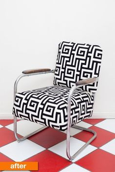 Before & After: A 1930s Accent Chair Gets a Patterned Pick-me-up