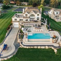 Great exterior and landscaping featuring a helicopter pad and a massive outdoor pool with an ocean view. Via - Architecture and Home Decor - Bedroom - Bathroom - Kitchen And Living Room Interior Design Decorating Ideas - Dream Home Design, Modern House Design, My Dream Home, Dream House Exterior, Dream House Plans, Dream Mansion, Luxury Homes Dream Houses, Modern Mansion, Mansions Homes