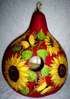 Sunflowers and Butterflies on Bright Apple Red Gourd birdhouse Garden Yard/Art