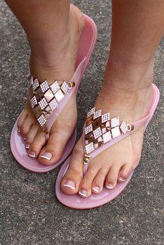 Bari Mari Embellished Flip Flop {Nude}