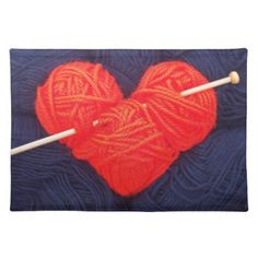 Cute wool heart with knitting needle photograph cloth placemat - Saint Valentine's Day gift idea couple love girlfriend boyfriend design