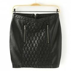$13.43 Stylish Zipper Up Diamond Check Black PU Leather Skirt For Women