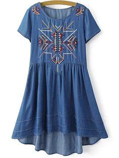 Round Neck Short Sleeve Ethnic Embroidery Dress #womensfashion #pinterestfashion #buy #fun#fashion