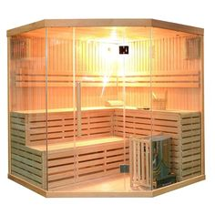 Aleko Canadian Hemlock Wood Indoor Wet Dry Sauna with 6 KW ETL Electrical Heater, Multicolor Dry Sauna, Steam Sauna, Sauna Seca, Canadian Hemlock, Indoor Sauna, Sauna Room, Sauna House, Sand Glass, Tempered Glass Door