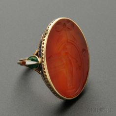 Rare Gold, Carnelian Intaglio, and Enamel Ring - Marie Zimmermann (1879-1972)