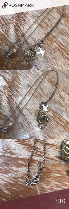 Birdcage Necklace This has a yellow gold birdcage but the chain is silver with a white bird and crystal dangle. Jewelry Necklaces