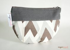 Zapp Brown Pleated Make Up Bag by sugarrushcreative on Etsy, $10.00