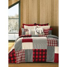 Beautiful Damascus Reversible Quilt Set Bedding Furniture from top store Twin Quilt Size, Queen Size Quilt, Plaid Bedding, Plaid Bedroom, Lodge Bedroom, Cheap Apartment, Quilt Sets, Quilt Blocks, Cover