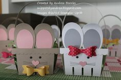 Bunny baskets made with the Berry Basket die and Bow Builder punch from Stampin Up! Spring Crafts, Holiday Crafts, Homemade Easter Baskets, Basket Crafts, Berry Baskets, Easter Projects, 3d Projects, Crafts For Seniors, Dollar Tree Crafts