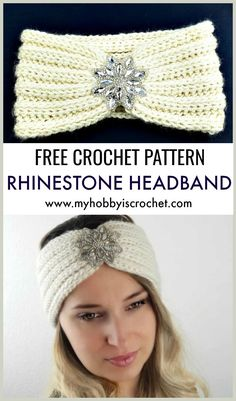 Keep your head warm and feel stylish with this pretty knit-look ribbed crochet headband with rhinestone applique. Keep your head warm and feel stylish with this pretty knit-look ribbed crochet headband with rhinestone applique. Bandeau Crochet, Crochet Headband Pattern, Crochet Ear Warmer Pattern, Easy Crochet Headbands, Knit Headband, Baby Headbands, Free Knitting, Knitting Patterns, Crochet Shawl
