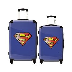 IKASE VINTAGE SUPERMAN 2 PC Set ($248) ❤ liked on Polyvore featuring bags, luggage and black