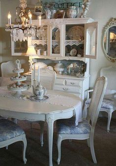 White, chippy, French country cottage, dining décor