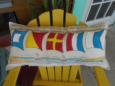 Sailing Pillow Nautical Hand Painted Flag by JandineenArtworks