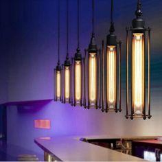 Bar Pendant Lights, Vintage Pendant Lighting, Industrial Pendant Lights, Pendant Lamps, Industrial Style, Vintage Industrial, Kitchen Industrial, Industrial Metal, Industrial Restaurant