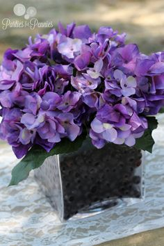 Purple Hydrangea Centerpieces   ... messy & once they defrost it could just look like purple mush. Eww