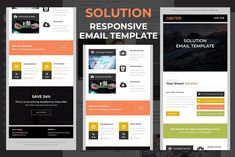 Solution – Responsive email template by QuickArtisan - business marketing design Email Template Design, Email Templates, Design Templates, Responsive Email, Mobile Responsive, Mozilla Thunderbird, Mail Chimp Templates, Campaign Monitor, Aol Mail