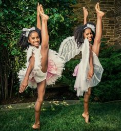 Twin Ballerinas - http://www.blackhairinformation.com/community/hairstyle-gallery/kids-hairstyles/twin-ballerinas/ #kidshairstyles