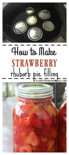 Canning Strawberry Rhubarb Pie Filling Easy recipe for canning strawberry rhubarb pie filling. One of my favorite strawberry canning recipes! Strawberry Rubarb Pie, Strawberry Rhubarb Recipes, Strawberry Rhubarb Pie Filling Canning Recipe, Canning Apple Pie Filling, Strawberry Filling, Canning Soup Recipes, Pressure Canning Recipes, Rhubarb Canning Recipes, Easy Rhubarb Recipes