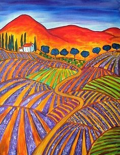 post impressionist art | Fields of Roussillon - by Renée Gandy from Fauve - Post Impressionist