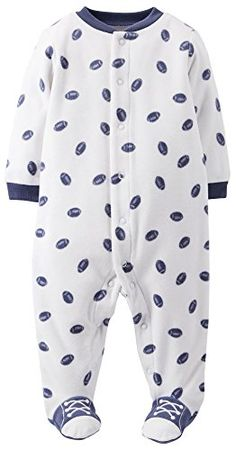 Carters Print Fleece Footie Baby  Footballs6 Months ** You can find more details by visiting the image link.