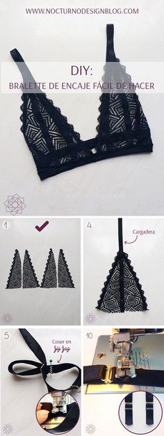 DIY: Easy to make lace bralette. Step by step complete. DIY: Easy to make lace bralette. Step by step complete. Diy Clothing, Sewing Clothes, Diy Fashion, Ideias Fashion, Fashion Ideas, Face Fashion, Fashion Spring, Work Fashion, Unique Fashion