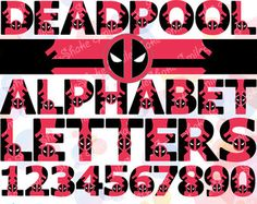 36 PNG Deadpool Printable Alphabet Digital Superhero Letters & Numbers Clipart Birthday Banner Party Decorations Deadpool Nursery Decor
