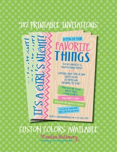favorite things invitations | Favorite Things Party Invitations. Printable 5x7 inch Invitations ...