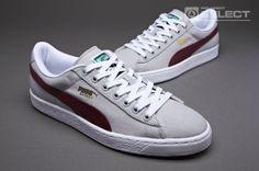 Puma Basket Classic Canvas - Mens Select Footwear - Grey - Burgundy