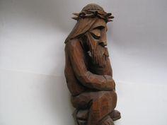 RZEZBA LUDOWA - JEZUS FRASOBLIWY. (5963498276) - Allegro.pl - Więcej niż aukcje. Christ, Wood Sculpture, Poland, Folk, Greek, Statue, Wood, Buddha, Sculpture