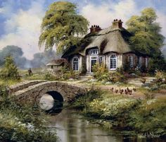 English cottage I Canvas Art - Reint Withaar x Kinkade Paintings, Creation Photo, Dutch Painters, Beautiful Paintings, Home Art, Landscape Paintings, Countryside, Scenery, Canvas Art