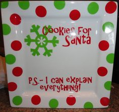 Personalized Cookies for Santa Plate by alissafsmith Sharpie Projects, Sharpie Crafts, Vinyl Crafts, Vinyl Projects, Sharpie Plates, Sharpie Art, Sharpies, Christmas Vinyl, Christmas Plates