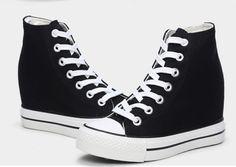 d657b68ac1e59 Lona para Mujer Cuña Oculta Alta-Top Zapatillas Zapatos Con Cordones  Plataforma Tenis Tenis Con