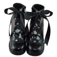 JAPAN COSPLAY ORIGINAL Japanese Black Rubber-soled Gothic Lolita Shoes (€100) ❤ liked on Polyvore featuring shoes, boots, gothic shoes, kohl shoes, rubber sole shoes, black rubber sole shoes and black shoes