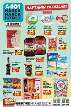 """10 Nisan ve 16 Nisan 2021 tarihleri arasında A101 marketlerde geçerli """"Haftanın Yıldızları"""" broşürü 9 sayfadan oluşmaktadır. Broşürde gıda, temizlik, kişisel bakım ve manav ürünleri yer almaktadır. #a101 #a101market #aktüelürünler #broşür #katalog #indirim Cereal, Box, Snare Drum, Breakfast Cereal, Corn Flakes"""