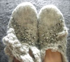 Ecru Wool Felted Shoes with Silver Beads by momoish on Etsy, $139.00