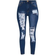 Mid Wash Extreme Bum Rip High Waisted Skinny Jean ($40) ❤ liked on Polyvore featuring jeans, denim skinny jeans, distressed skinny jeans, destroyed skinny jeans, ripped blue jeans and high-waisted jeans