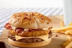 45 McDonald's Meals Not Available In The USA | Perez Solomon 2.0 Burger topped with ham-stuffed fried chicken patty and bacon.