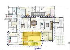 庭を取り込むコの字型の平屋 Japanese House, House Plans, Floor Plans, Flooring, How To Plan, The Originals, Architecture, Interior, Home Decor