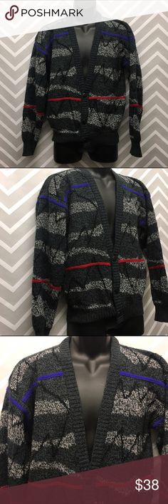 Men's Vintage Gray Patterned Knit Cardigan Men's Vintage Gray Patterned Knit Cardigan. Brand is Michael Gerald. Size small. Great condition. Size small. 100% acrylic. Measurements: waist measured at bottom hen 28-32 inches, chest 44 inches, length 25 inches, 21.5 inch sleeve length Sweaters Cardigan