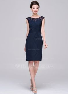 Sheath/Column Scoop Neck Knee-Length Ruffle Lace Beading Sequins Zipper Up Cap Straps Sleeveless No 2015 Dark Navy Spring Summer Fall Winter General Plus Chiffon Mother of the Bride Dress