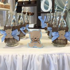 Teddy bear baby shower  party drinks! See more party ideas at CatchMyParty.com!