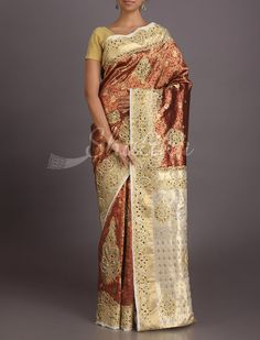 Pavitra Heavy Ornate With Contrast Border Pallu Kanchipuram Hand-Work Silk Saree