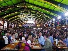 Inside the Augustiner Tent (it's green and magical and fun) at #Oktoberfest :)